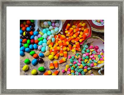 Candy Spilling Out Of Tea Cups Framed Print