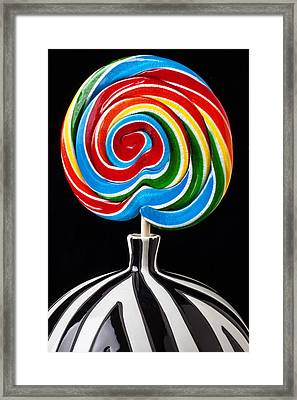 Candy Sucker In Vase Framed Print by Garry Gay