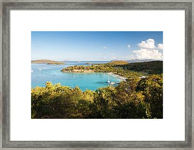 Caneel Bay Panorama Framed Print by George Oze