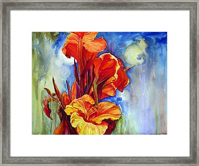 Framed Print featuring the painting Canna Lilies by Priti Lathia