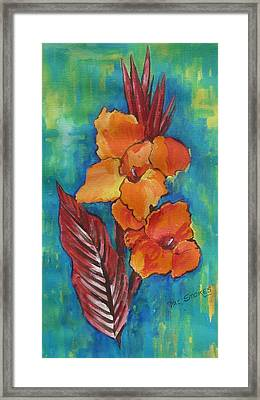Canna Lillies. Framed Print by Val Stokes