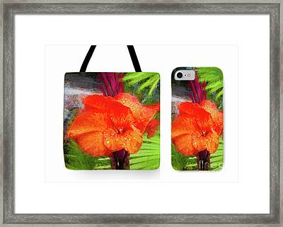 Canna Lily Red Bloom Tote Phone Case Set Framed Print by Mona Stut