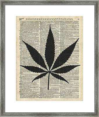 Cannabis Plant Stencil Framed Print by Jacob Kuch