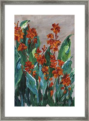Framed Print featuring the painting Cannas by Jamie Frier