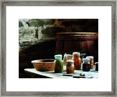 Canning Jars With Colorful Vegetables Framed Print by Susan Savad