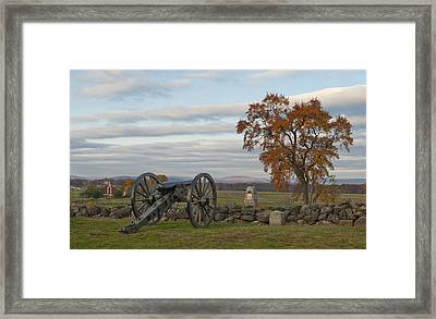 Cannon And Stone Wall At Gettysburg Framed Print by Greg Dale