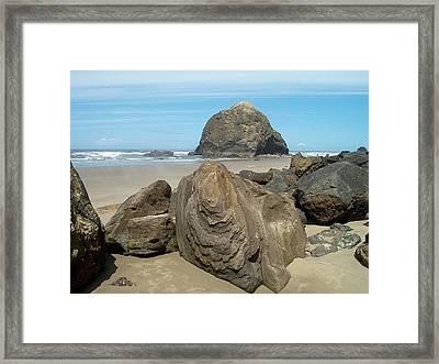 Cannon Beach Boulders Framed Print by Lori Seaman