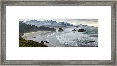 Cannon Beach Oregon Pano Framed Print