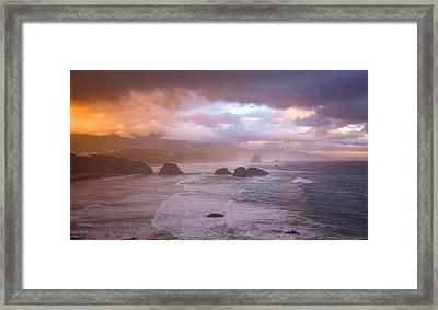 Cannon Beach Sunrise Storm Framed Print by Darren White