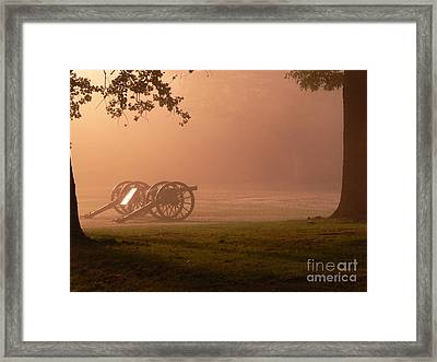 Cannons In The Fog Framed Print