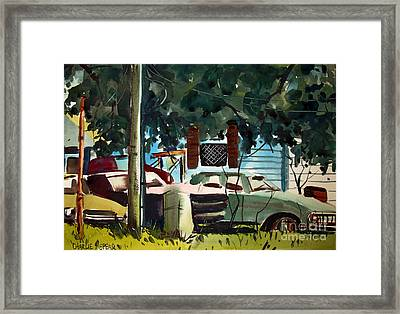 Framed Print featuring the painting Cannus Auto And Used Cars Framed by Charlie Spear