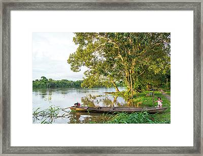 Canoe And River View Framed Print by Jess Kraft