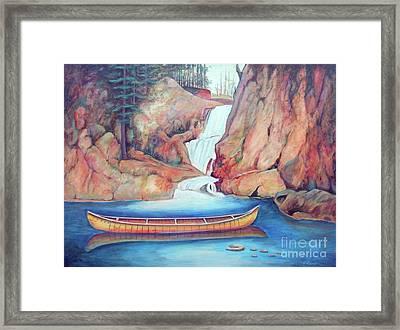 Canoe And Waterfall Framed Print by Pete  TSouvas