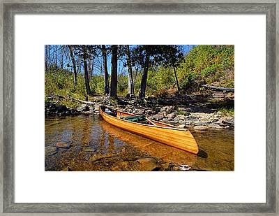 Canoe At Portage Landing Framed Print by Larry Ricker