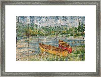 Canoe Camp - Distressed Framed Print by Paul Brent