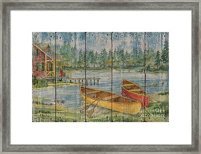 Canoe Camp With Cabin - Distressed Framed Print