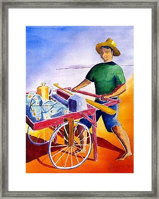 Canoe Fisherman With Cart Framed Print by Buster Dight