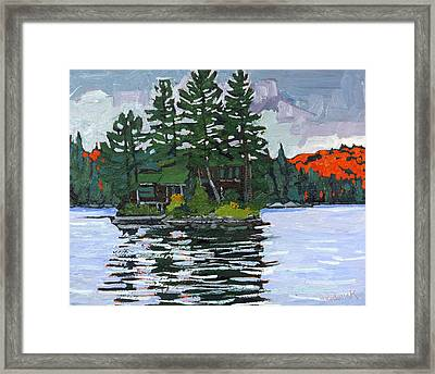 Canoe Lake Cottage Island Framed Print by Phil Chadwick