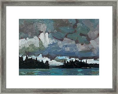 Canoe Lake Rain Framed Print