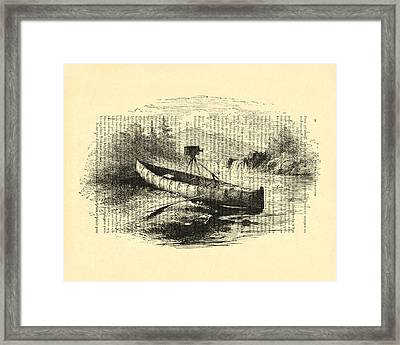 Canoe With Field Camera In Black And White Antique Illustration Framed Print