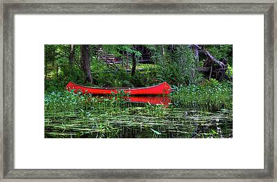Canoe Near The Lean-to Framed Print by David Patterson