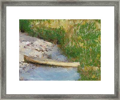 Canoe On Beach Framed Print by Nada Frazier