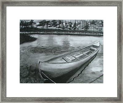 Canoe On Pond Framed Print by Lee Davies