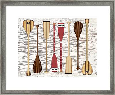 Framed Print featuring the digital art Canoe Paddles And Oars Over Wood by Edward Fielding