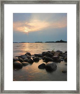 Canoe Point Sunset Framed Print by Lori Deiter