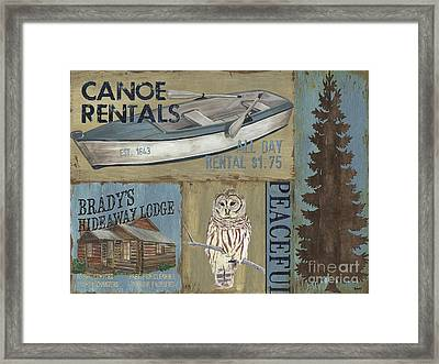 Canoe Rentals Lodge Framed Print by Debbie DeWitt