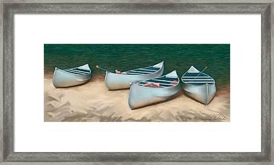 Canoe Trip At Cedar Water Framed Print by Dennis Orlando
