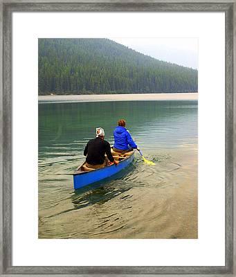 Canoeing Glacier Park Framed Print by Marty Koch