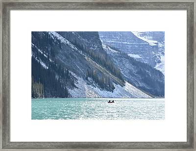 Canoeing On Lake Louise Framed Print