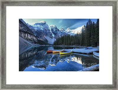 Canoes In Moraine Framed Print by Adam Jewell