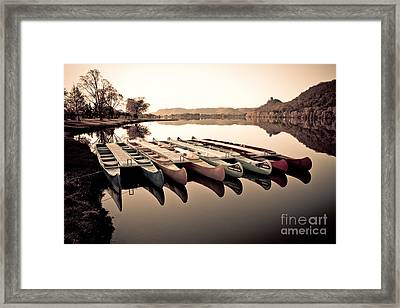 Canoes In The Early Morning Framed Print