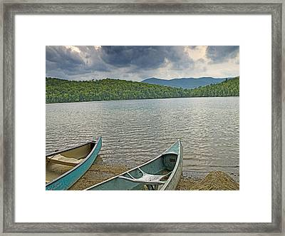Canoes On Heart Lake Adirondack Park New York Framed Print by Brendan Reals