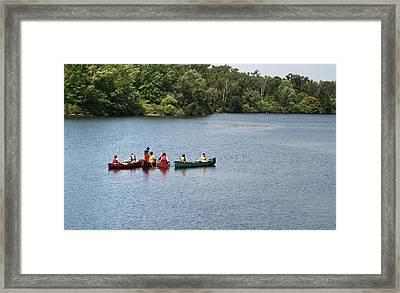 Canoes On Lake Framed Print by Blink Images