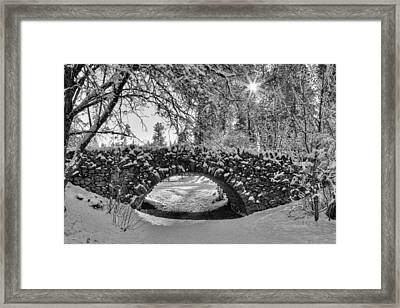 Canon Hill Park Winter - Black And White Framed Print