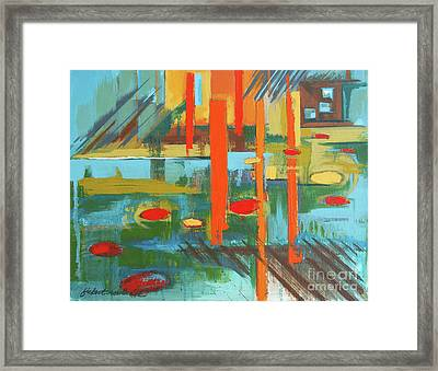 Framed Print featuring the painting Cantaloupe Island by Erin Fickert-Rowland