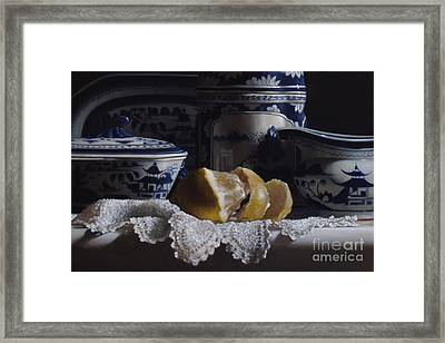 Canton China Lace And Lemon Framed Print by Larry Preston