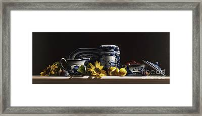 Canton With Sunflowers And Fruit Framed Print by Larry Preston