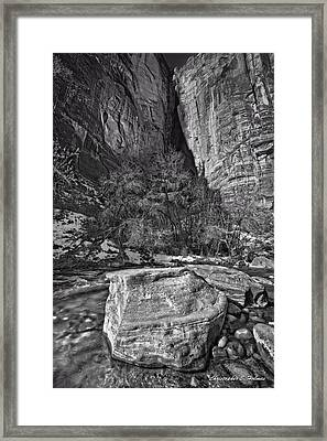 Canyon Corner - Bw Framed Print by Christopher Holmes