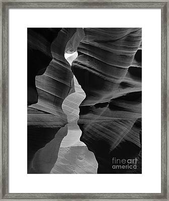 Canyon Curves In Black And White Antelope Canyon Framed Print