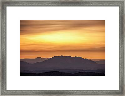 Canyon Layers With Fiery Sunrise Framed Print