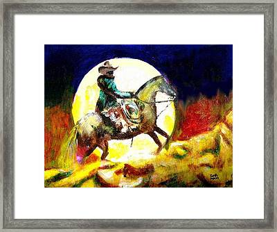Framed Print featuring the painting Canyon Moon by Seth Weaver