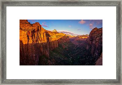 Canyon Overlook Sunrise Zion National Park Framed Print by Scott McGuire