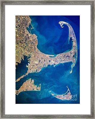 Cape Cod And Islands Spring 1997 View From Satellite Framed Print