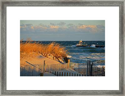 Cape Cod Bay - Dunes In Winter Framed Print by Dianne Cowen