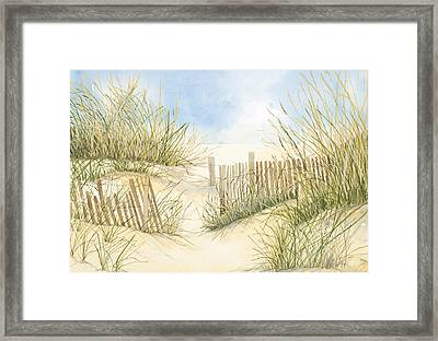 Cape Cod Dunes And Fence Framed Print by Virginia McLaren