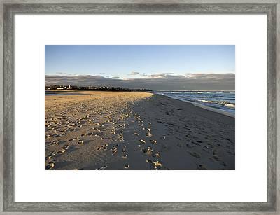 Cape Cod Foot Prints On Sandy Beach Framed Print by Keenpress